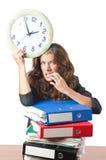 Trabajador de mujer ocupado Imágenes de archivo libres de regalías