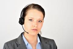 Trabajador de sexo femenino del puesto de informaciones Imagen de archivo