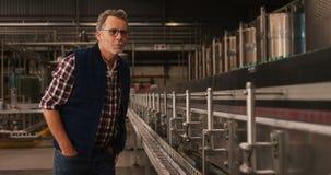 Trabajador de sexo masculino que trabaja en la planta de embotellamiento almacen de metraje de vídeo