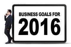 Trabajador de sexo masculino y metas de negocio para 2016 Fotos de archivo