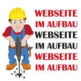Trabajador de Webseite im Aufbau Imagen de archivo libre de regalías