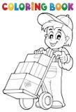 Trabajador del almacén del libro de colorear Imagen de archivo