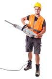 Trabajador del camino con el martillo perforador Imagen de archivo