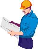 Trabajador del capataz de la construcción stock de ilustración
