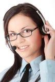 Trabajador del cener de la llamada de los jóvenes Imagen de archivo
