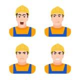 Trabajador del constructor en diversas emociones de la construcción Imagen de archivo libre de regalías