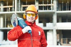 Trabajador del constructor en el emplazamiento de la obra Fotografía de archivo libre de regalías