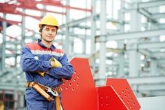 Trabajador del constructor en el emplazamiento de la obra Imágenes de archivo libres de regalías