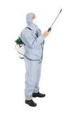 Trabajador del control de parásito en workwear protector Imagen de archivo libre de regalías