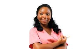 Trabajador del cuidado médico del afroamericano con la aguja Fotos de archivo