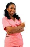 Trabajador del cuidado médico del afroamericano con la aguja Foto de archivo libre de regalías