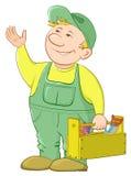 Trabajador del hombre con una caja de herramientas ilustración del vector