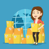 Trabajador del negocio del servicio de entrega internacional Imágenes de archivo libres de regalías