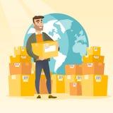 Trabajador del negocio del servicio de entrega internacional ilustración del vector