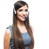 Trabajador del servicio de atención al cliente de la mujer, operador sonriente del centro de atención telefónica Imagen de archivo
