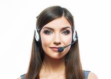 Trabajador del servicio de atención al cliente de la mujer, wi sonrientes del operador del centro de atención telefónica Fotografía de archivo libre de regalías