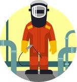 Trabajador del soldador en estilo plano Imagen de archivo libre de regalías