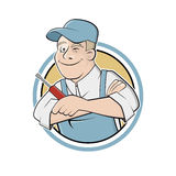Trabajador divertido de la historieta en una insignia Foto de archivo libre de regalías