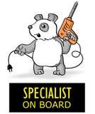 Trabajador divertido de la panda de la historieta aislado Especialista de la etiqueta engomada a bordo Imágenes de archivo libres de regalías