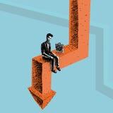 Trabajador durante crisis stock de ilustración