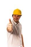 Trabajador en casco Fotografía de archivo