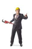 Trabajador en casco amarillo Fotos de archivo libres de regalías