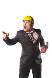 Trabajador en casco amarillo Fotos de archivo