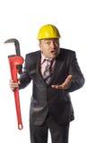 Trabajador en casco amarillo Imagen de archivo libre de regalías