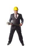 Trabajador en casco amarillo Fotografía de archivo libre de regalías