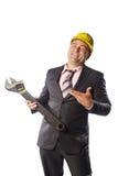 Trabajador en casco amarillo Imágenes de archivo libres de regalías