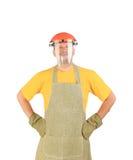 Trabajador en delantal y máscara plástica Fotografía de archivo