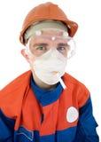 Trabajador en el casco con el cigarrillo Imagenes de archivo