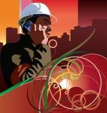 Trabajador en el teléfono del cel Fotos de archivo libres de regalías