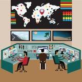 Trabajador en la sala de control, sitio de observación libre illustration