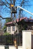 Trabajador en una grúa alta en un árbol que examina las ramas que se cortarán en el neigborhood exclusivo Tulsa Oklahoma los E.E. imagenes de archivo