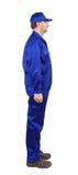 Trabajador en workwear azul. Foto de archivo libre de regalías