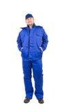 Trabajador en workwear azul Fotografía de archivo