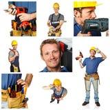 Trabajador feliz en el fondo blanco Imagenes de archivo