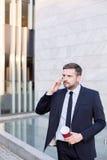 Trabajador financiero en traje Imagenes de archivo
