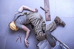Trabajador herido Fotografía de archivo libre de regalías