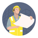 Trabajador, ingeniero o arquitecto de construcción mirando el plan del proyecto Fotografía de archivo