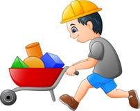 Trabajador joven del constructor que empuja una carretilla stock de ilustración