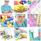 Trabajador médico y píldoras Fotografía de archivo libre de regalías