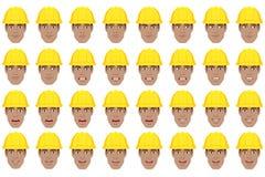 Trabajador negro con diversas emociones y expresiones faciales stock de ilustración