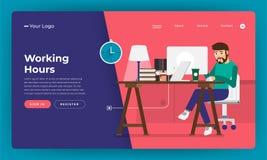 Trabajador plano de las horas de trabajo del concepto de diseño del sitio web del diseño de la maqueta stock de ilustración