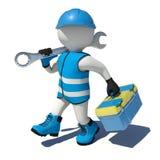 Trabajador que camina en los guardapolvos que sostienen la caja de herramientas y ilustración del vector