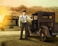 Trabajador que deja una granja de la era de los años 30 de la zona desértica stock de ilustración