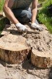 Trabajador que hace una trayectoria del paseo en el jardín adornado con los tocones de madera Fotografía de archivo