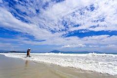 Trabajador que limpia doc. Let Beach, Vietnam fotos de archivo