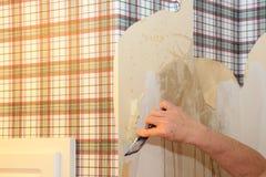 Trabajador que quita el papel pintado Imagen de archivo